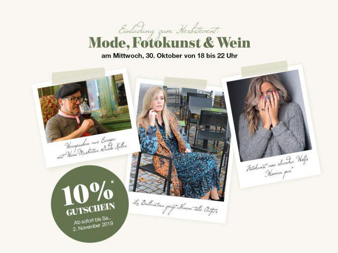 Mode, Fotokunst & Wein